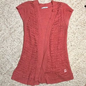Salmon colored cap sleeve cardigan